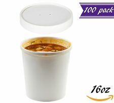 (Set of 100) 16 oz White Paper Soup Containers with Lids Combo Pack, Poly-Coated