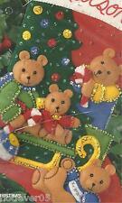 BUCILLA TEDDY BEAR CHRISTMAS,Felt Applique STOCKING KIT,1993 MPN SEALED