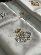 Antik'Etoffe, 6 serviettes Fleurs De Lys Monogramme sous Couronne, Cadeau Unique
