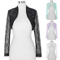 NEW Long Sleeve Lace Shrug Womens Bolero Cropped Cardigan Top Ladies Size 8 - 22