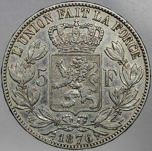 1876 BELGIUM 5 FRANCS LEOPOLD II SILVER LUSTER HIGH GRADE
