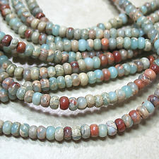 "Aqua Terra African Opal 3.5x5.5mm Rondelle Beads 16"" Natural Impression Jasper"