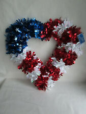 """15"""" x 16"""" Patriotic July 4th Metallic Tinsel Red, White & Blue Heart Wreath,Nwt"""