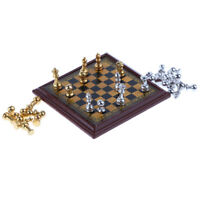 Dollhouse Miniature 1:12 Toy Silver & Golden Metal Chess Set Kids Play Toys