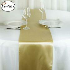 Tiger Chef 12-Pack Champagne (Deep Yellow) 12 x 108 inches Long Satin Table Runn