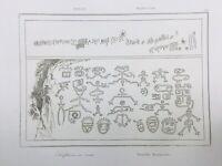 Brésil 1837 rare gravure ethnographique Dessins indiens du Brésil Ethnologie
