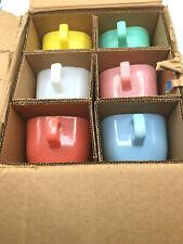 6 Vintage Glasbake Lipton Soup Mugs Pastel Set / New in Original Box from1961