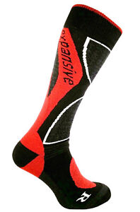 Snowboard Winter Socks Red Expansive Professional Shaped Merino Wool 4 sizes