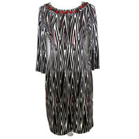 Chicos 0 Womens Dress Sheath Shift Jewels 3/4 Sleeves Stretch Work Size Small