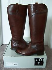 Frye Melissa Tab Tall Riding Boots Redwood Brown Smooth Leather Women's 7.5 EUC