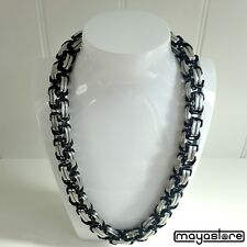 60CM / Φ14mm Bizantino Collar Negro Cadena de Plata Collar de Acero Inoxidable