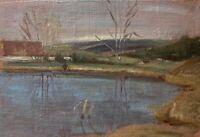 Abendstimmung am See Ölbild Studie 22 x 30 cm Anonym 30er Jahre #1