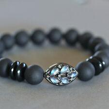 U&C Sundance Rainbow Moonstone Diamond Pave Matte Black Onyx 925 Silver Bracelet