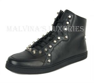 GUCCI SNEAKERS BLACK LEATHER HIGH TOP STUDDED SHOES $950 sz 10.5G / 11.5 / 45