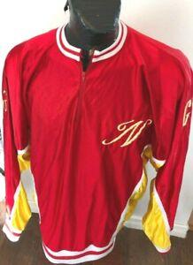 MENS Vintage 70's XLarge Basketball Pull Over Zip Neck Warm Up Satin Jacket
