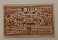 WEILBURG NOTGELD 50 PFENNIG 1920 NOTGELDSCHEIN (11166)