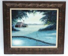 VINTAGE OIL PAINTING SIGNED THOMAS TOM KERRY BARN, WATER POND WINDMILL LANDSCAPE