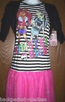 MONSTER HIGH Sparkly Pink Black DRESS Girls 14/16 NeW Frankie and Clawdeen Shrug