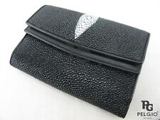 PELGIO Real Genuine Stingray Skin Leather Clutch Trifold Wallet Coin Purse Black