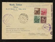 ITALY 1945 to LUXEMBOURG EARLY 4 COLOUR REPUBLIC FRANKING 2 DIFF.CENSORS TORTOSA