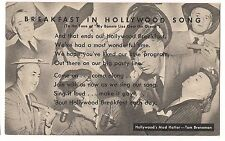 KELLOGG Breakfast in Hollywood Song Mad Hatter TOM BRENEMAN Postcard 1945 ABC