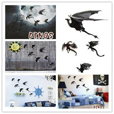 7pcs/Lot 3D Wall Sticker Black Gothic Dragons Inspired 3D Dragon Wall Sticker