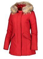 Giubbotto Parka donna Arctic invernale trench rosso giacca piumino con pelliccia