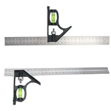 300mm Adjustable Engineers Combination Try Square Set Right Angle Ruler MW