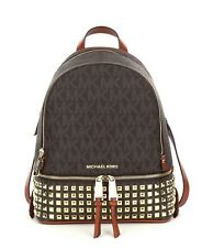 New Michael Kors Rhea Small Logo Backpack Brown $358 bag Gold studded studs