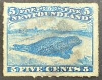 NEWFOUNDLAND # 40 VF-USED 5cts 1876-79 HARP SEAL / BLUE /ROULETTED ST29
