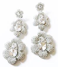 USA EARRING Clear Rhinestone crystal Flower gemstone Dangle FANCY drop Bridal 4