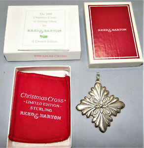 Reed & Barton Sterling Silver Christmas Cross Ornament 1988 w Box