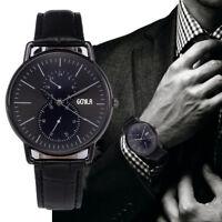 Fashion Mens Quartz Watches Dial Leather Strap Analog Business Dress Wrist Watch