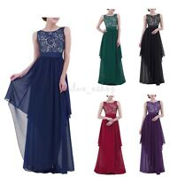Women's Formal Lace Long Sleeve Evening Dress Party Prom Gown Bridesmaid Dresses