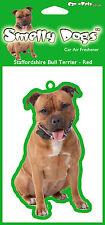 Staffordshire Bull Terrier ROJO - 2 X encantador Ambientador coche para los amantes del perro
