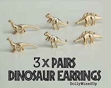 3x PAIA T-Rex Dinosauro Oro Orecchini Carina Regalo ~ ~ idea regalo a buon mercato ~ NUOVO