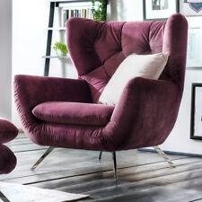 Sessel Sixty 1-Sitzer Bezug in Velour Stoff purple Gestell Metall Chrom 100 cm