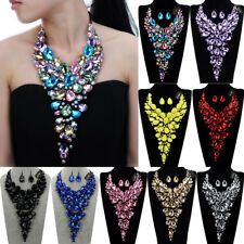 Fashion Black Chain Crystal Acrylic Resin Choker Statement Pendant Bib Necklace