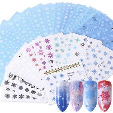 30Pcs Christmas Winter Nail Art Stickers White Snowflake Water Decal Set Decor