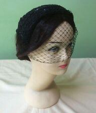 50s Vintage Hat. Black  Sequin Braid Trimmed Hat. Goodwood