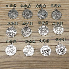 Full Set of 12 Zodiac Sign Pendant Sliver Round Double Sided Horoscope Charms