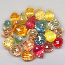 5.57Ct.Natural Fancy Color Sapphire Africa Briolette Lot Drilled Dazzling Heated