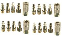 20 PIECE Solid Brass Quick Coupler Set Air Hose Connector Fittings 1/4 NPT Tools