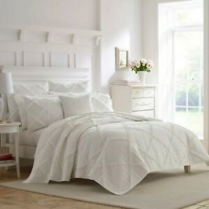 Laura Ashley Maisey Quilt Full/Queen 90 x 90 White Cotton Free Shipping