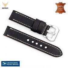 100% Genuine Leather Watch Strap Band Vintage 18mm 20mm 22mm 24mm Black US SALE