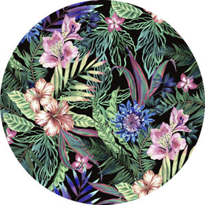 Wild Flower Design Machine Washable Round Area Rug  3f Black