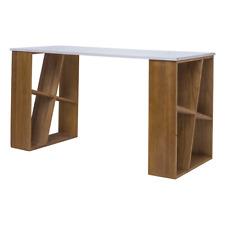 Mobili Rebecca® Scrivania Scrittoio Legno Bianco Marrone Moderno Studio Casa