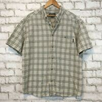 Woolrich Men's Short Sleeve Gray Plaid Button Front Shirt Size Extra Large XL