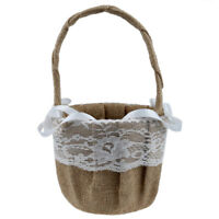 Vintage Retro Lace Bow Wedding Flower Girl Basket WS