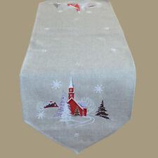 Tischläufer 40 x 140 cm grau rot Tischdecke Tischdeko Weihnachten Landhaus Deko